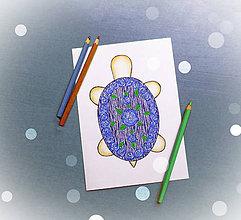 Papiernictvo - Korytnačka kreslená pohľadnica (ružičková) - 12113193_