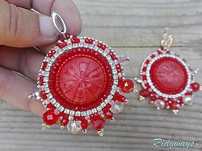 Náušnice - Button collection Red......vyšívané - 12115325_