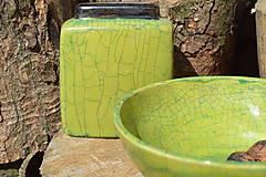 Nádoby - Miska zelená, kraklovaná III. - 12113906_