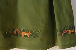 """Šaty - Detské ľanové maľované šaty """"veveričky"""" - 12114499_"""