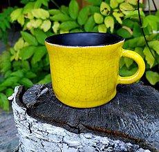 Nádoby - keramická šáločka na kávu - citrónovožltá - 12114769_