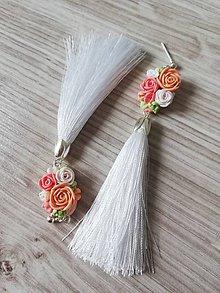 Náušnice - Broskyňové kvetinové náušnice - 12114264_