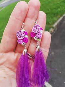 Náušnice - Fialové kvetinové náušnice - 12116592_