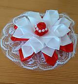 Ozdoby do vlasov - Kvet bielo červený - 12115644_