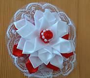 Ozdoby do vlasov - Kvet bielo červený - 12115645_