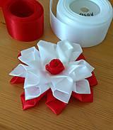 Ozdoby do vlasov - Kvet bielo červený - 12115647_