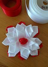 Ozdoby do vlasov - Kvet bielo červený - 12115650_