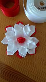 Ozdoby do vlasov - Kvet bielo červený - 12115652_