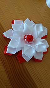 Ozdoby do vlasov - Kvet bielo červený - 12115658_