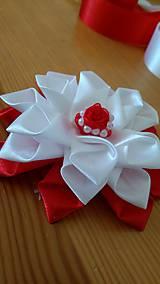 Ozdoby do vlasov - Kvet bielo červený - 12115659_