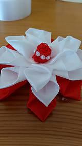 Ozdoby do vlasov - Kvet bielo červený - 12115660_