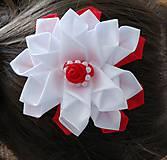 Ozdoby do vlasov - Kvet bielo červený - 12115662_