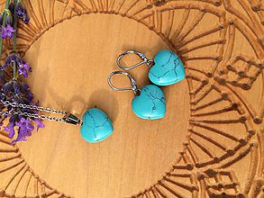 Sady šperkov - srdiečková súprava z Tyrkysu - 12115043_