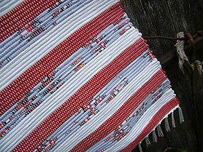 Úžitkový textil - Tkaný koberec červeno-sivo-biely - 12114285_