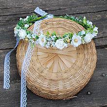 Ozdoby do vlasov - Venček s ružičkami, drobnými kvetmi a prírodninami na 1. prijímanie, svadbu - 12117523_