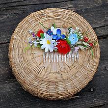 Ozdoby do vlasov - Malý hrebienok do vlasov -prírodný, s makovičkou, lúčny, folk - 12118957_