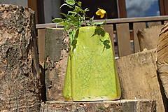 """Dekorácie - Váza zelená """"KRAKLOVANÁ"""". - 12116933_"""