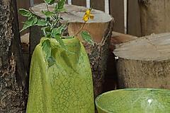 """Dekorácie - Váza zelená """"KRAKLOVANÁ"""". - 12116967_"""