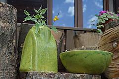 """Dekorácie - Váza zelená """"KRAKLOVANÁ"""". - 12116972_"""
