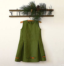 """Šaty - Detské ľanové maľované šaty """"veveričky"""" - 12116817_"""