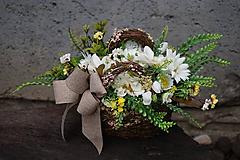 Dekorácie - Margarétky v košíku - 12119607_