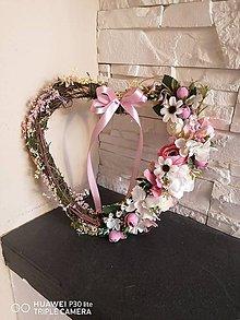 Dekorácie - Vintage ružove srdce s mašlou 30cm - 12118412_
