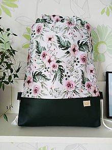 Batohy - Nepremokavý batoh starorųžové kvety s tmavozelenou - 12119035_