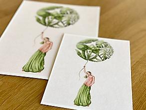 Grafika - Dievča s balónom - Print | Botanická ilustrácia - 12122070_