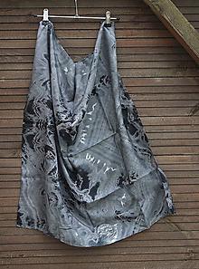 Šály - silk scarf_hodvábna šatka_black_čierna - 12121297_