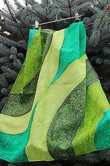 Šatky - silk scarf_hodvábna šatka_green_zelená - 12121353_