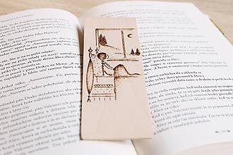 """Papiernictvo - Drevená záložka do knihy """"Za oknom"""" - 12120716_"""