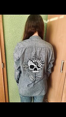 Košele - Rifľová košeľa s lebkou - 12121816_