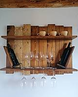 Nábytok - Polička - rozkvitnuté latky na víno - 12123882_