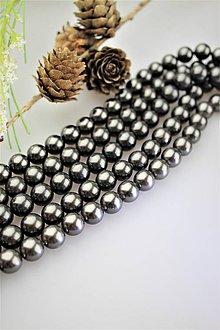 Korálky - perly 10mm, perly z mušlí - čierne - 12122801_