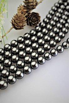 Korálky - perly 12mm, perly z mušlí - čierne - 12122803_