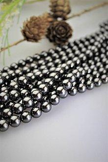 Korálky - perly 8mm, perly z mušlí - čierne - 12122816_