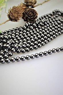 Korálky - perly 6mm, perly z mušlí - čierne - 12122831_
