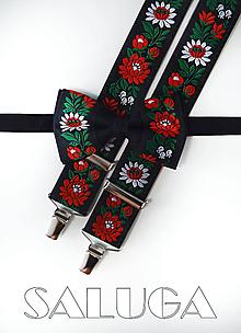 Doplnky - Folklórny pánsky čierny motýlik a traky folk - 12123463_