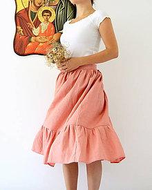Sukne - Ľanová sukienka staroružová - 12122412_