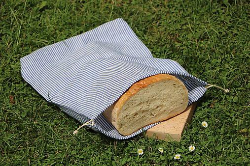 Ľanové vrecko na chlieb pásik tmavý
