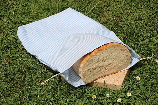 Ľanové vrecko na chlieb pásik svetlý