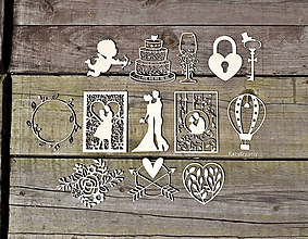 Materiál ručne robený - svadobné výrezy - 12125709_
