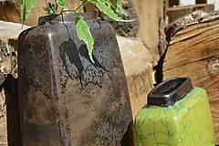 Dekorácie - Váza vysoká bronzová a bronzovo zelená -SET - 12125157_