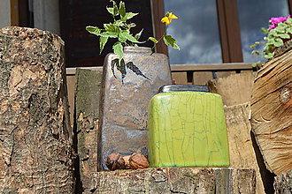 Dekorácie - Váza vysoká bronzová a bronzovo zelená -SET - 12125151_