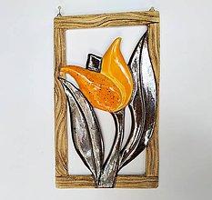 Dekorácie - Keramická dekorácia na stenu - Žltý tulipán - 12126325_