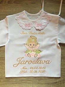 Detské oblečenie - Maľovaná košielka na krst - anjelik a  kvietky - 12126821_