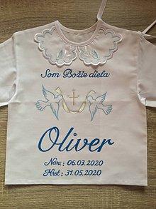 Detské oblečenie - Maľovaná košielka na krst s holubičkami - 12126889_