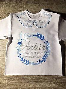 Detské oblečenie - Maľovaná košielka na krst - venček s bylinkami -modrá verzia - 12126908_