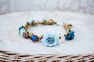 Ozdoby do vlasov - Modrý kvetinový venček - VÝPREDAJ - 12126405_