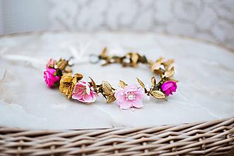 Ozdoby do vlasov - Ružový kvetinový venček - VÝPREDAJ - 12126427_